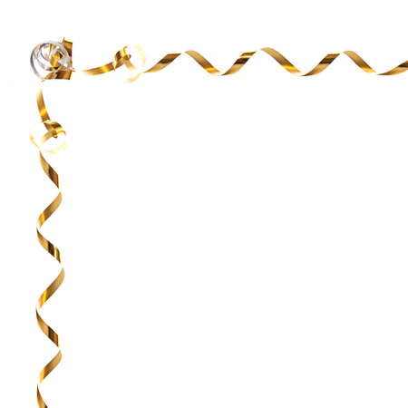 gold swirls: Golden gift ribbon frame isolated on white background
