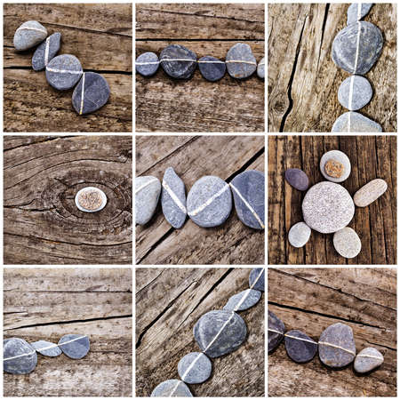 aligned: Collage of stones aligned on wood