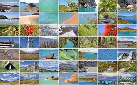 icefall: Collection of New Zealand images collage Stock Photo
