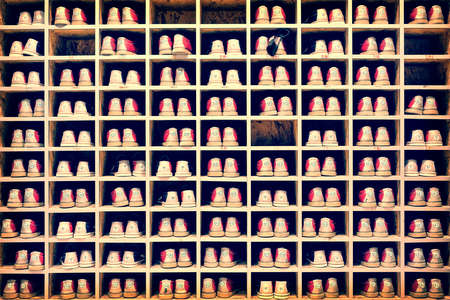 shoe collection: Collection of bowling shoes in their rack background, vintage process