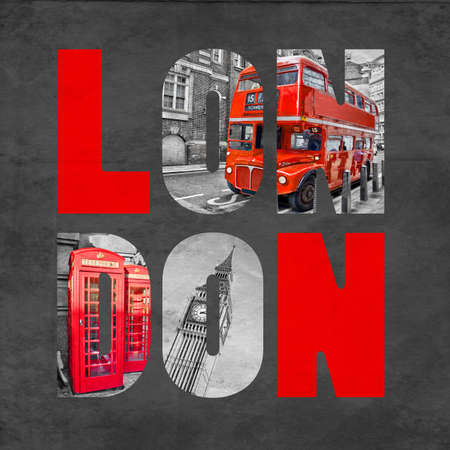 phonebooth: London letters with images on textured black background, selective color red