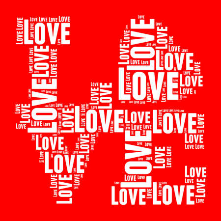 White and red vintage pop art style words cloud LOVE photo