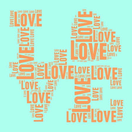 mom and pop: Orange and blue vintage pop art style words cloud LOVE