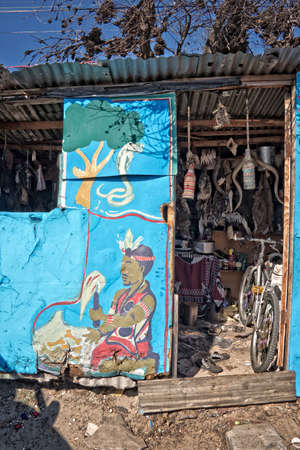 shantytown: Traditional healer house in the township of Khayelitsha, reputed to be the largest and fastest growing township in South Africa. Editorial