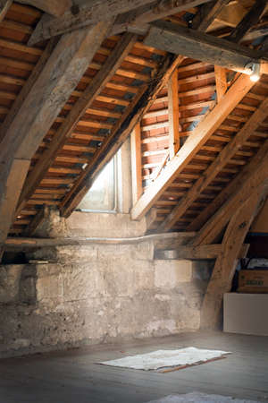 attic: Old attic of an ancient house