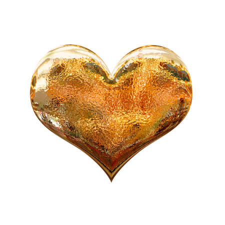 golden heart: 3D shiney golden metal heart, isolated on white background Stock Photo