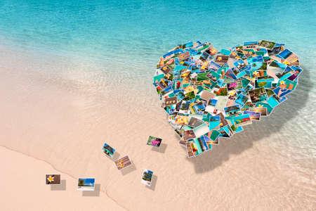 season photos: Photos collage in the shape of a heart on a beach background