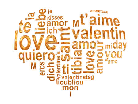 Multilingual love words in a golden heart isolated on white background photo