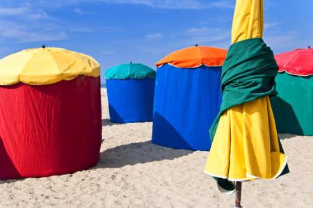 basse normandy: Beach umbrellas, Deauville, Normandy, France