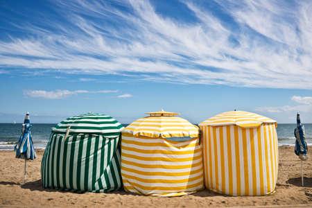 Beach umbrellas, Deauville, Normandy, France