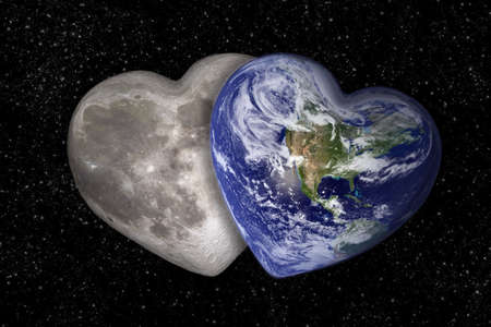 Moon and earth in the shape of a heart photo