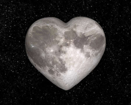 noche y luna: Luna en la forma de un coraz�n Foto de archivo