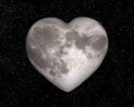 saint valentin coeur: Lune en forme de coeur