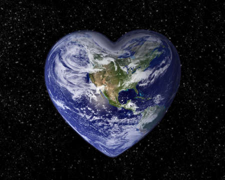 star shaped: The earth in the shape of a heart Stock Photo