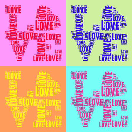 Vntage pop art style words cloud LOVE collage photo