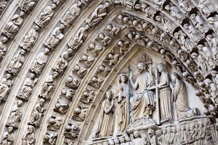 notre dame de paris: Portal of the last judgment of Notre Dame de Paris, France