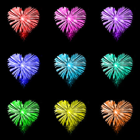 love explode: Rainbow heart shaped fireworks