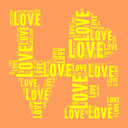 mom and pop: Orange and yellow vintage pop art style words cloud LOVE