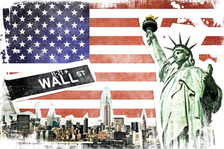 new york skyline: New York City vintage collage, US flag background Stock Photo