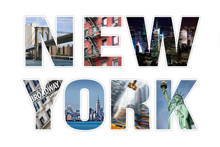 photo collage: Letters NEW YORK photo collage isolated on white background Stock Photo