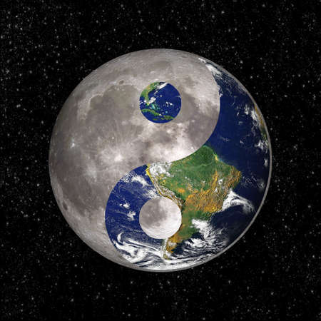 yin: Yin Yang and tao symbol with earth and moon, elements of this image are provided by NASA Stock Photo