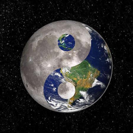 yin y yang: Yin Yang y tao símbolo con la tierra y la luna, elementos de esta imagen son proporcionados por la NASA Foto de archivo