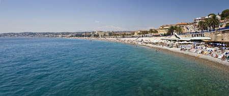 promenade: Beach and english promenade, panorama, Nice, France Stock Photo