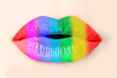 mouth kiss mouth: Girl rainbow lips close up Stock Photo