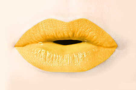 Girl yellow lips close up