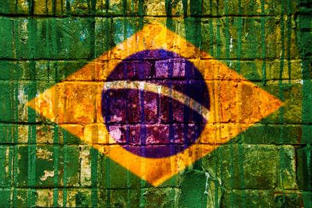 brazil symbol: Brazilian flag, brick wall texture