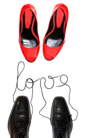 male and female: Love concept, male female shoes Stock Photo