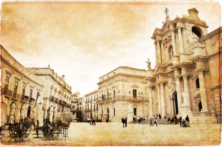 old photograph: Piazza del Duomo, Syracuse, Sicily, Italy Stock Photo