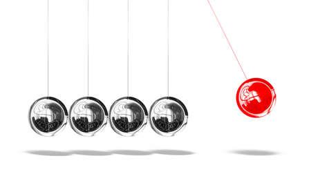 Newton pendulum, isolated on white background