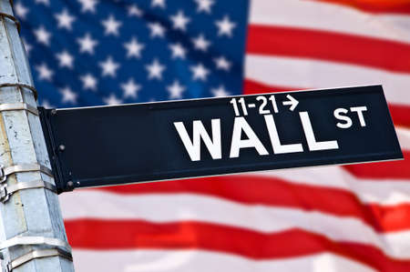 wallstreet: Close up of a Wall street direction sign, New York, USA