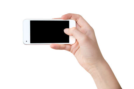 internet concept: Han holding a phone as for a selfie, blank screen, isolated on white background