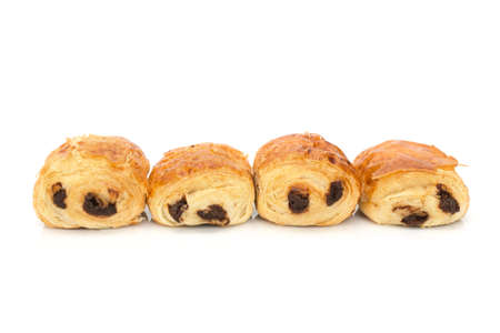 french bakery: Pains au chocolat (french bakery products with chocolate) isolated on white background