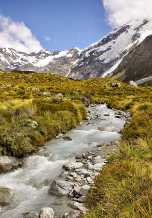 torrent: Mountain torrent near Mount Cook, New Zealand