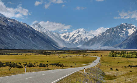 south island new zealand: Road toward Mount Cook, New Zealand