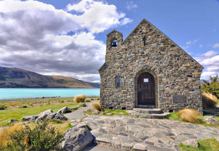 sheperd: Church of the Good Sheperd, Lake Tekapo, New Zealand Stock Photo