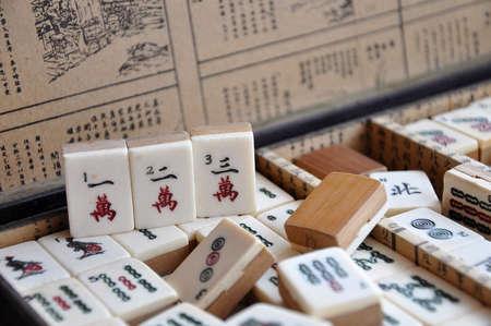Box of old Mahjong tiles