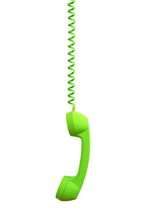 Green phone receiver hanging, isolated on white background photo