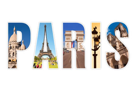 Paris letters with monuments isolated on white background photo