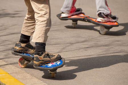 skateboarding: Skateboarding in a street