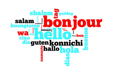 Word Hello translated in many languages, multilingual word cloud on white background