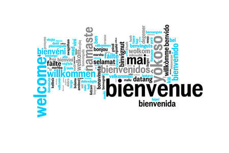 willkommen: Word Welcome translated in many languages, multilingual word cloud on white background