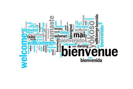 Word Welkom in vele talen vertaald, meertalig woordwolk op witte achtergrond