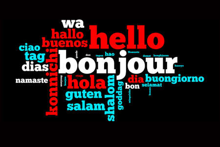 Word Hello translated in many languages, multilingual word cloud on black background Banco de Imagens