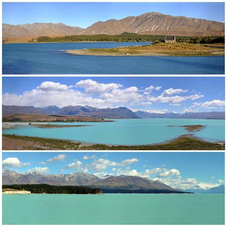 tekapo: Three panorama views of lake Tekapo, New Zealand