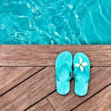 edge: Blue flip flops on a wooden deck