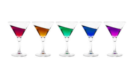inclined: Collection of cocktail glasses filled with colorful inclined wine drink isolated on white background